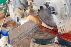 Closeup of electric circular cut off saw. Stock Photo