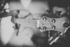 Closeup of electrical bass guitar. Royalty Free Stock Photos