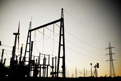 Electrical substation view Stock Photo