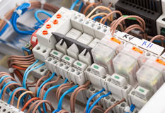 Electrical supplies. Closeup of electrical supplies in switchgear cabinet Stock Photo