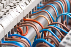 Electrical wires. Closeup of electrical wires in switchgear cabinet Royalty Free Stock Photo