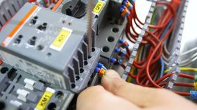 Electrician connects cable to case with screw. Closeup electrician hand connects cable in blue isolation with screw to grey plastic case on switch board stock video