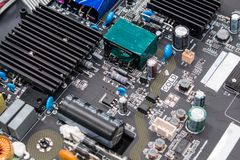 Closeup on electronic board in hardware repair shop Royalty Free Stock Photos