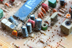 Closeup electronic circuit board Royalty Free Stock Photos