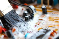 Closeup electronic circuit board. Background,cleaning royalty free stock images