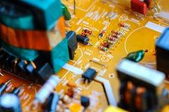 Closeup electronic circuit board. Background stock photos