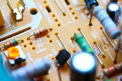 Closeup electronic circuit board. Background royalty free stock photo