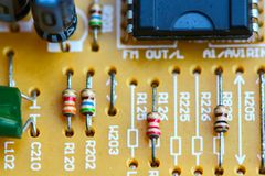 Closeup electronic circuit board. Background royalty free stock images