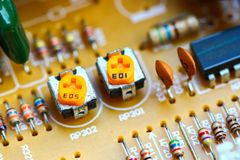 Closeup electronic circuit board. Background royalty free stock photography