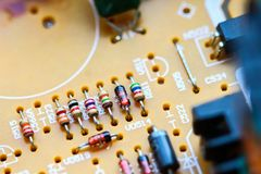 Closeup electronic circuit board. Background stock image