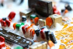 Closeup electronic circuit board. Background,cleaning stock photography