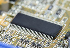 Closeup of electronic Circuit board with Microchips Royalty Free Stock Images