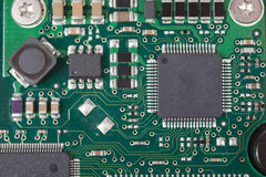 Closeup of electronic Circuit board with Microchips Royalty Free Stock Photos