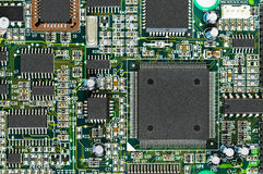 Closeup of electronic circuit board PCB with CPU Royalty Free Stock Photography