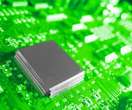 Closeup of electronic circuit board with processor Stock Photos