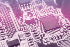 Closeup of electronic circuit board with processor. Background stock photo
