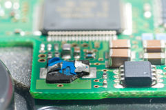 Closeup of electronic circuit board with processor,chip failure.  Stock Images