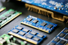 Closeup of electronics computer components microprocessors mainboard Royalty Free Stock Photo