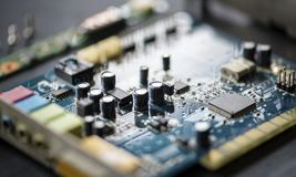 Closeup of electronics computer components microprocessors mainboard Royalty Free Stock Images