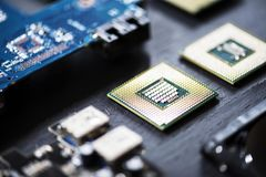 Closeup of electronics computer components microprocessors mainboard Stock Photography