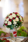 Closeup of elegant freshly cut wedding bouquet with white and re Stock Photo