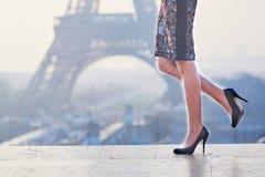 Closeup of elegant Parisian woman's legs stock photography