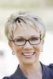 Closeup Of Elegant Woman Wearing Glasses royalty free stock photo