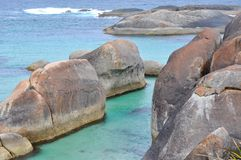 Closeup of Elephant Rocks in the Turquoise Great Southern Ocean royalty free stock photography