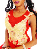 Closeup of embroideries on red dress. Royalty Free Stock Image