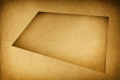 Closeup empty brown cardboard blank with frame texture background Stock Photography