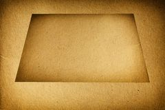 Closeup empty brown cardboard blank with frame texture background Stock Photo