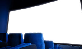 Closeup of empty cinema screen with blue seats.Wide. 3d render. Closeup of empty cinema screen with blue seats. Ready for adding your for advertisement. Wide Royalty Free Stock Image