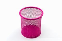 Closeup empty pink pail. Closeup empty pink pail on white background stock image