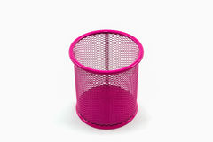 Closeup empty pink pail. Closeup empty pink pail on white background royalty free stock photography