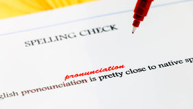Closeup english misspelling correction Royalty Free Stock Photography