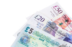 Closeup of english pounds banknotes Stock Photo