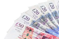 Closeup of english pounds banknotes Royalty Free Stock Images