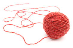 Closeup of entangled red wool on white background Royalty Free Stock Photos