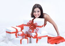 Closeup. enthusiastic beautiful woman with her gift. Royalty Free Stock Photography