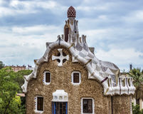 Closeup of Entrance building in the Parc Guell Royalty Free Stock Photos