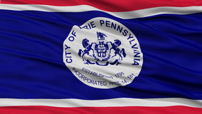 Closeup of Erie Flag Flag. Waving in the Wind, Pennsylvania State, United States of America Stock Photography