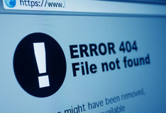 404 Error. Closeup of 404 Error Sign in Internet Browser on LCD Screen Stock Photo
