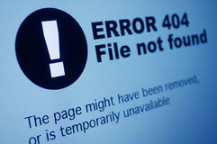 404 Error. Closeup of 404 Error Sign in Internet Browser on LCD Screen Royalty Free Stock Photo