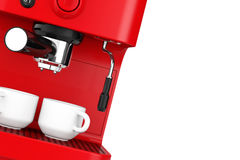 Closeup Espresso Coffee Making Machine. 3d rendering Stock Images