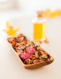Closeup of essential oil, flowers and pot-pourri Stock Image