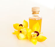 Closeup of essential oil and orchid flowers Stock Photos