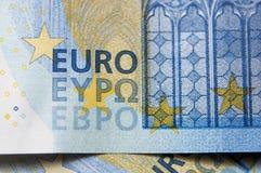 Closeup of 20 euro banknote detail.  Royalty Free Stock Image