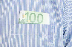 Closeup of euro banknote in front pocket Royalty Free Stock Photography
