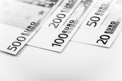 Closeup of Euro Banknotes Stock Photos