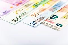 Closeup of Euro Banknotes Stock Photography